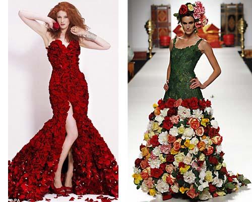 Платье из цветов живых фото