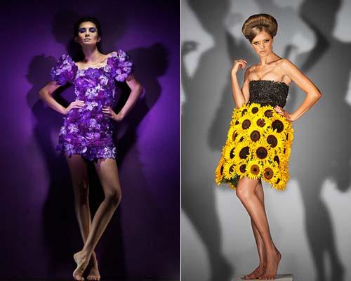 Создание платья из цветов