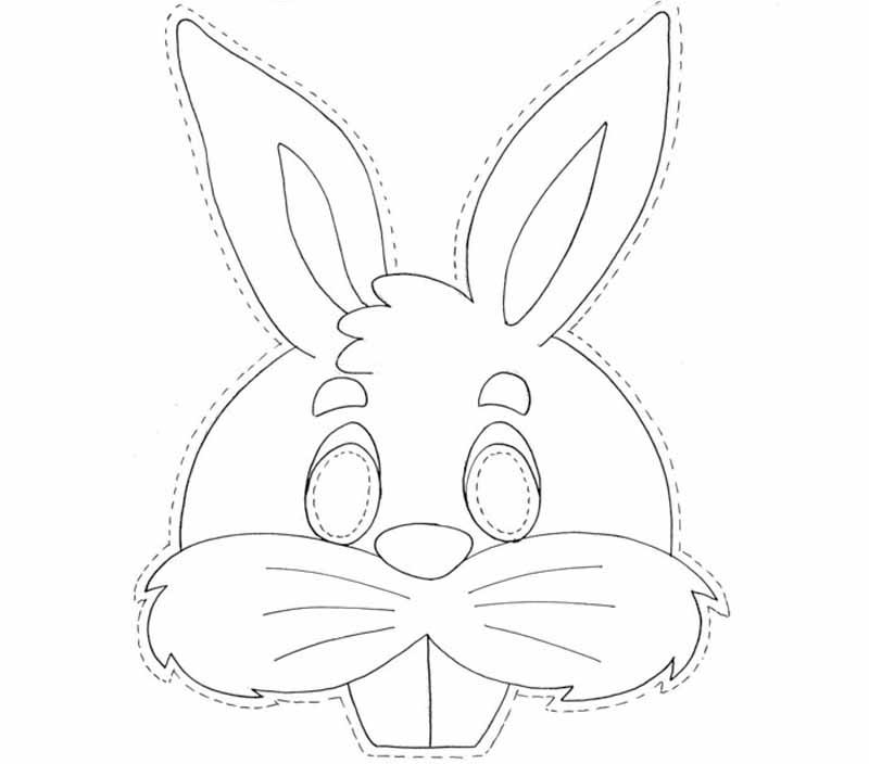 Маска раскраска заяц