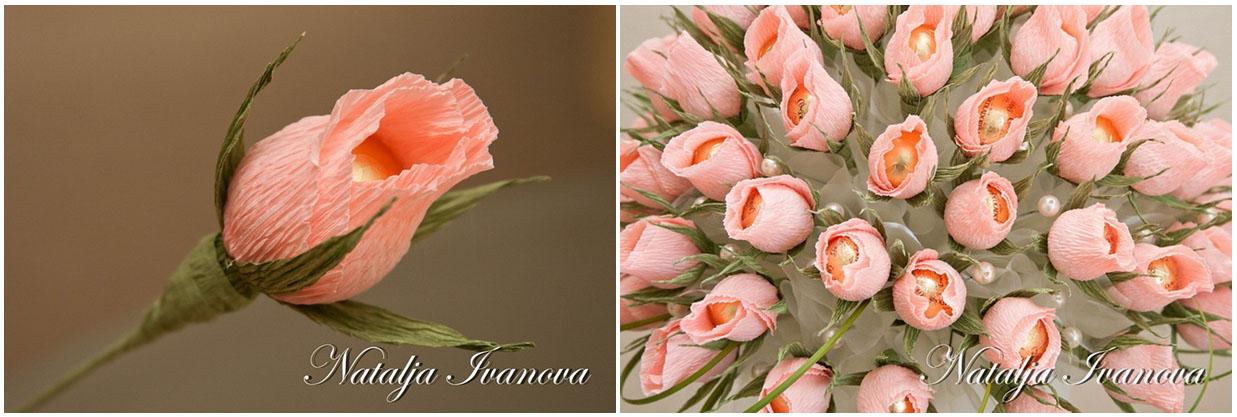 Английские розы из конфет и гофрированной бумаги своими руками мастер класс 14